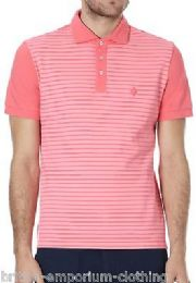 BALLANTYNE 100% Cotton Pink Striped Short Sleeved Piquet Polo T-Shirt LARGE BNWT